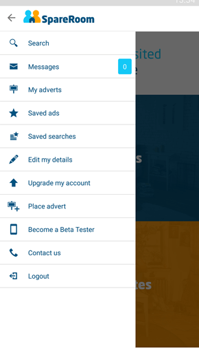SpareRoom Android App screenshot of your account