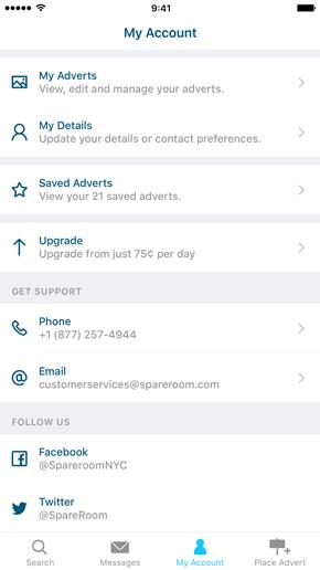SpareRoom iPhone App screenshot of your account